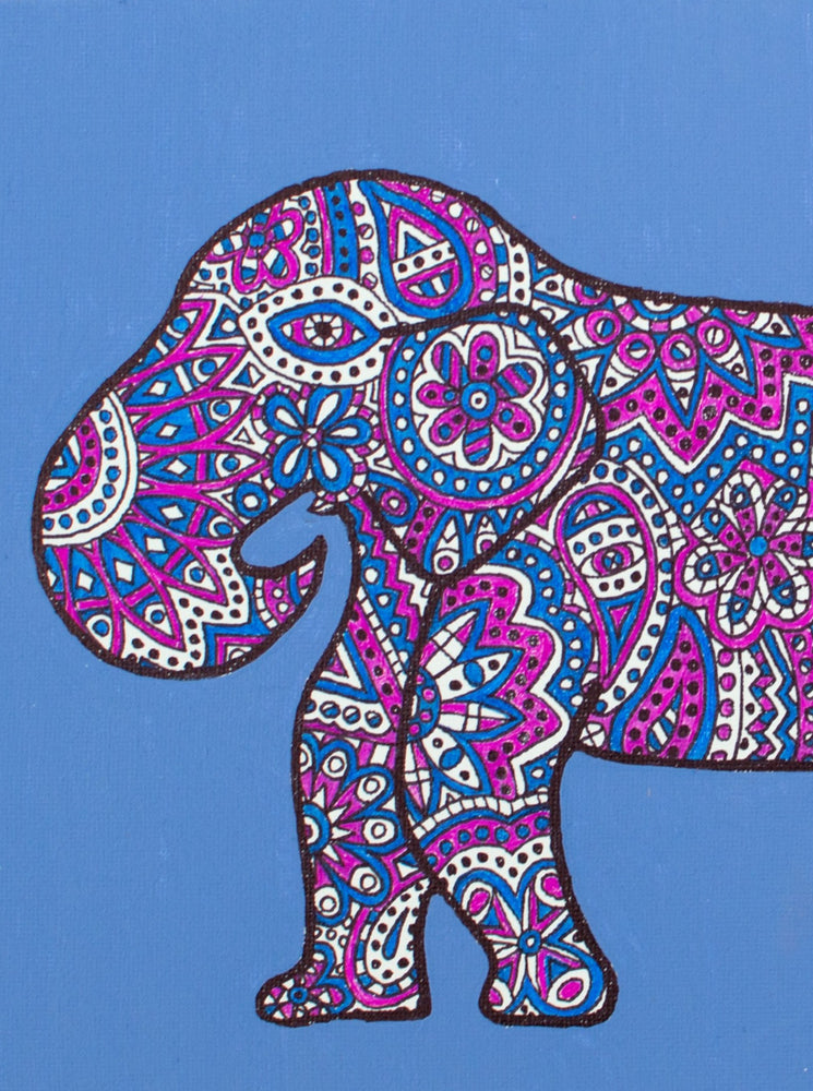 "My ""Blue & Pink Elephant"" 5""x7"" greeting card is iconic and feminine. It ships with an envelope."