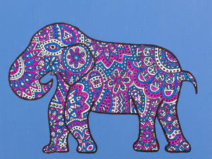 "My ""Blue & Pink Elephant"" original canvas is iconic and feminine. I hope it brings good vibes, positivity, and a sense of calm to your living space."