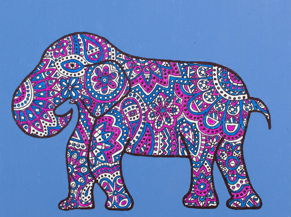 "My ""Blue & Pink Elephant"" 9""x12"" original canvas is iconic and feminine. I hope it brings good vibes, positivity, and a sense of calm to your living space."