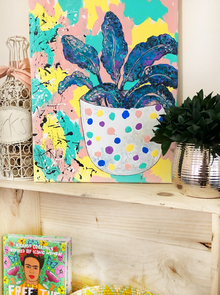 "The ""Polka Dot Planter"" 12""x15"" original canvas is a statement piece that brings calming vibes and greenery to your entertaining space, whether that be your living room, dining room or second bedroom."
