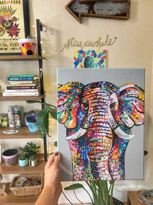 "My ""Rainbow Elephant"" original canvas is colorful, vibrant and bold. I hope it brings good vibes, positivity, and a pop of color to your living space. Available in 8""x10"" or 11""x14""."