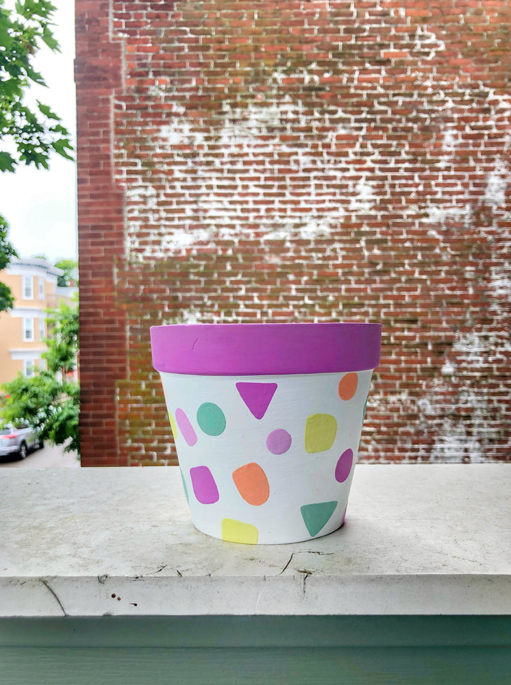 "My ""Pastel Sprinkle"" hand painted terracotta planter was inspired by one of my favorite cupcake and ice cream flavors - Funfetti!"