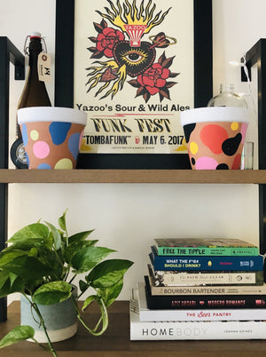 "Load image into Gallery viewer, My ""Sun Spot"" hand painted terracotta planter was inspired by some of my favorite sunset colors. It's also got those 70's vibes! Anyone else wish they were on That 70's Show?!"