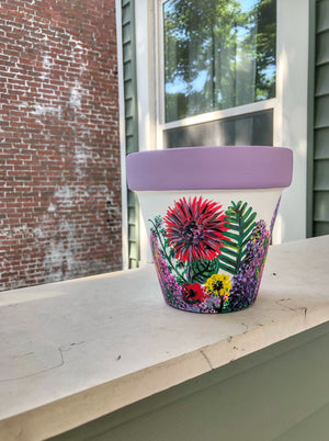 "My ""Wildflower"" hand painted terracotta planter illustrates some of my favorite funky fresh flowers in non-traditional colors."