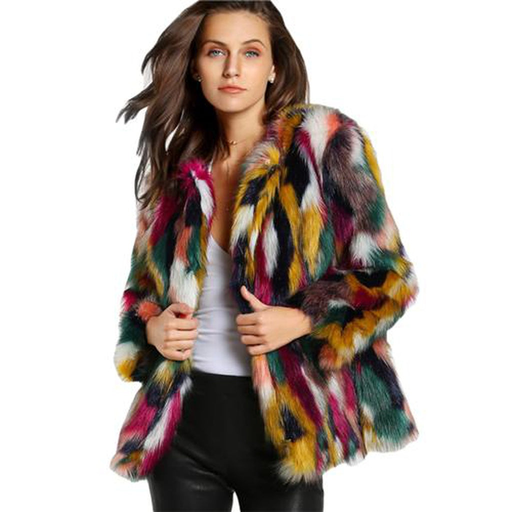 Colorful Collarless Faux Fur Coats - dkjackets