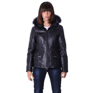 Women's Leather Jacket parka hood with murmasky black color - dkjackets
