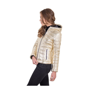 Women's leather down hooded jacket gold color Elsa - dkjackets