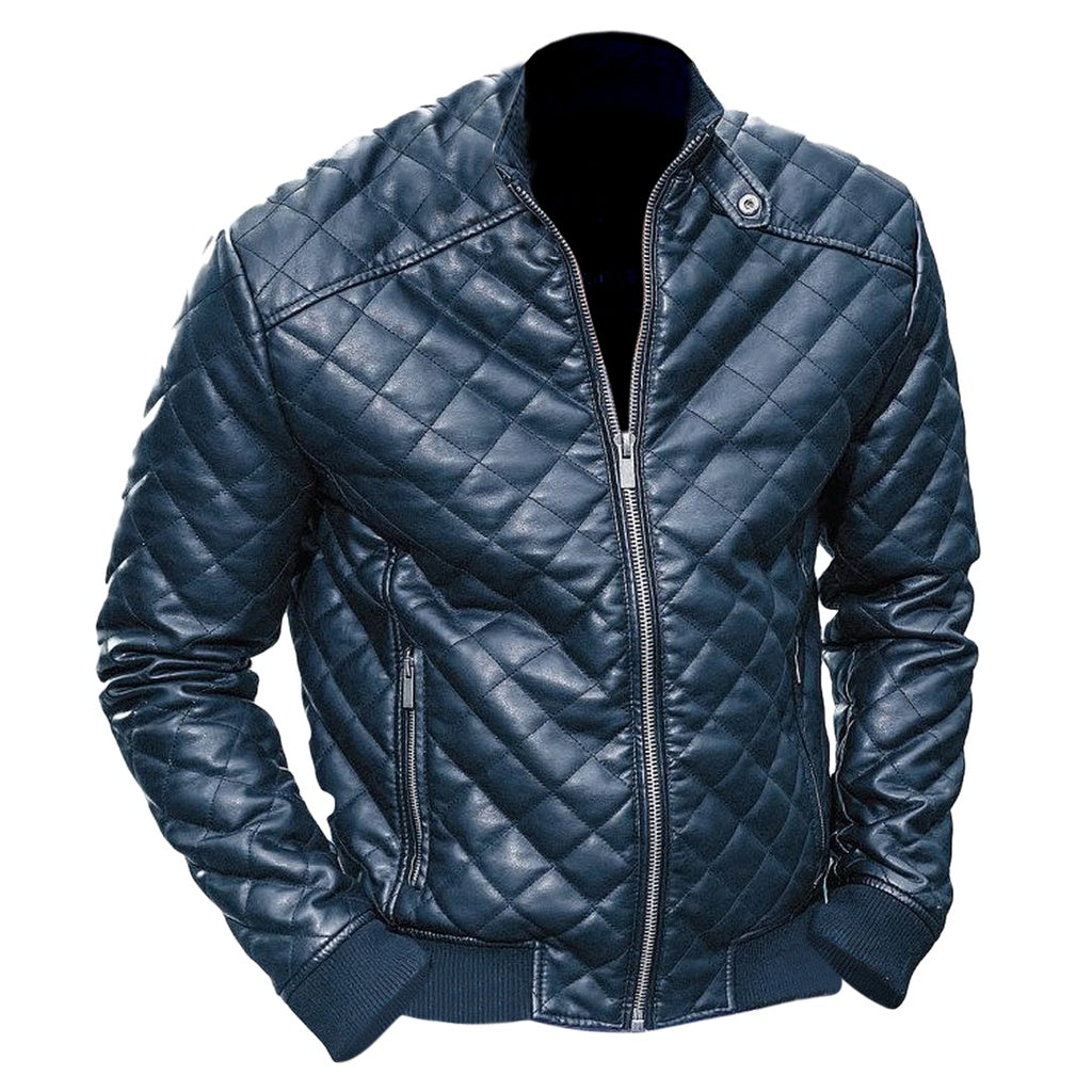 Men's Black Diamond Quilted Leather Jacket - dkjackets