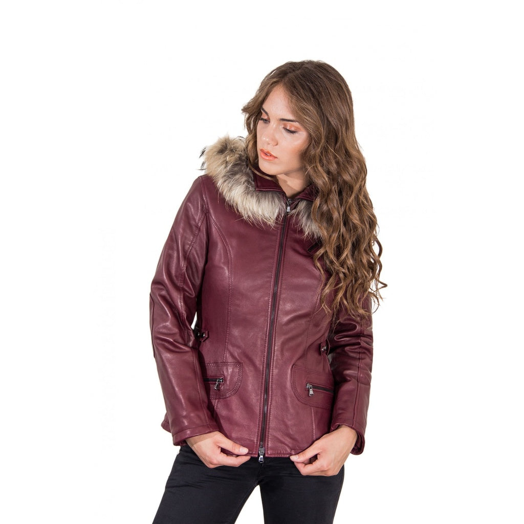 Women's Leather hooded Jacket parka with fur red purple color 627 - dkjackets