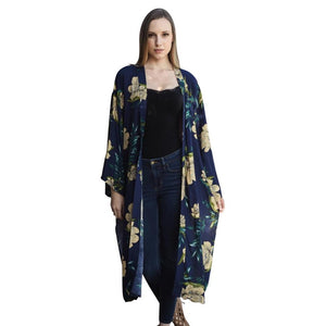 Beautiful Long Navy Blue Floral Kimono - dkjackets