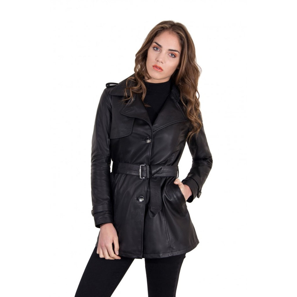 Women's Leather Trench black color Mara - dkjackets