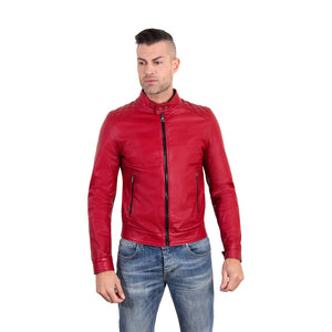 Men's Leather Jacket quilted yoke red color Emiliany Trap - dkjackets