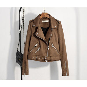 Women's Slim Suede  Biker Jacket - dkjackets