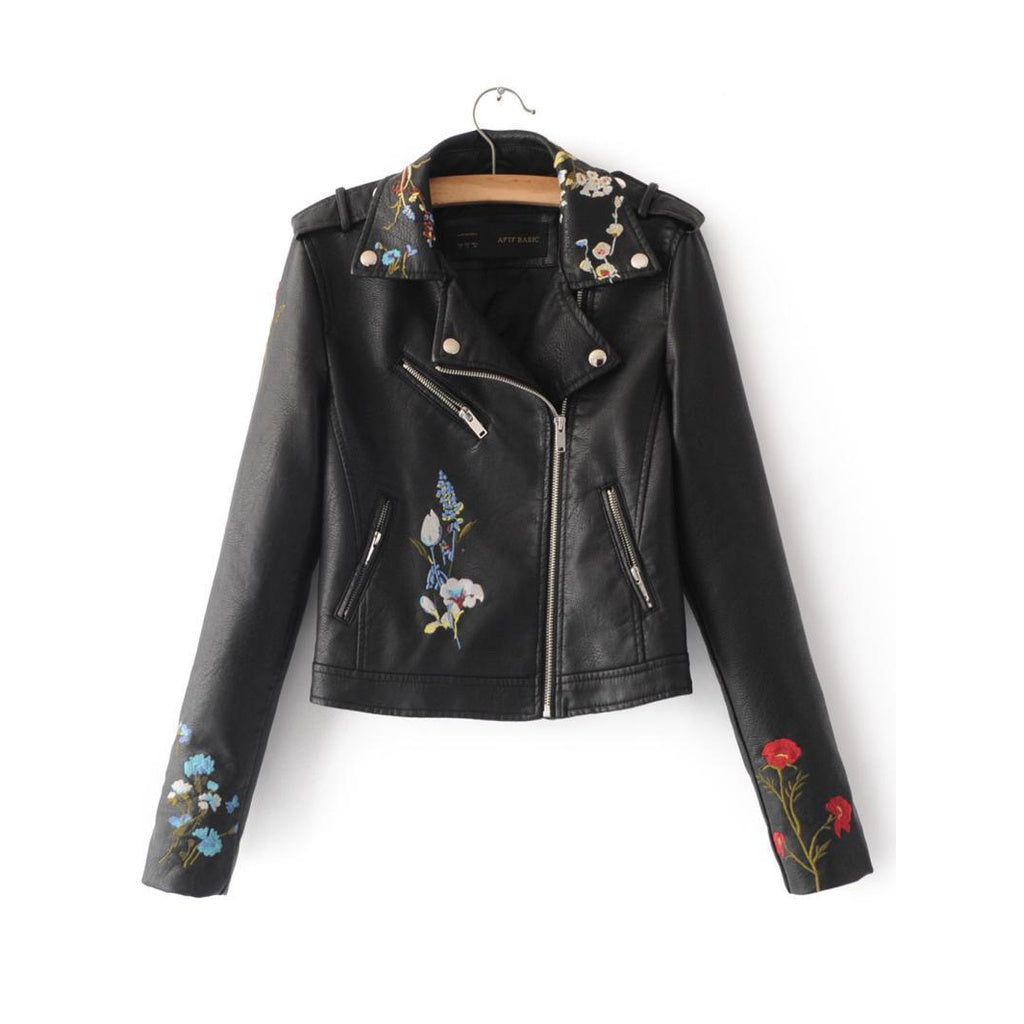 Women's Embroidered Bomber Faux Leather Biker Jacket - dkjackets