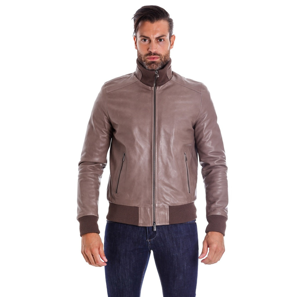 Men's Leather Jacket genuine soft leather style bomber grey color, Bomber - dkjackets