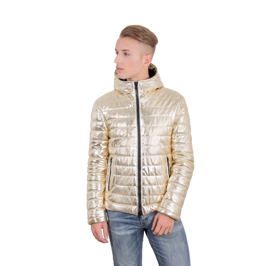 Men's hooded leather down jacket gold color TEO - dkjackets