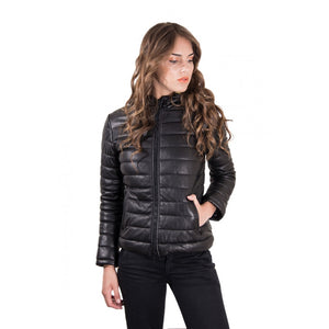 Women's Leather Down Hooded Jacket black color Elsa - dkjackets