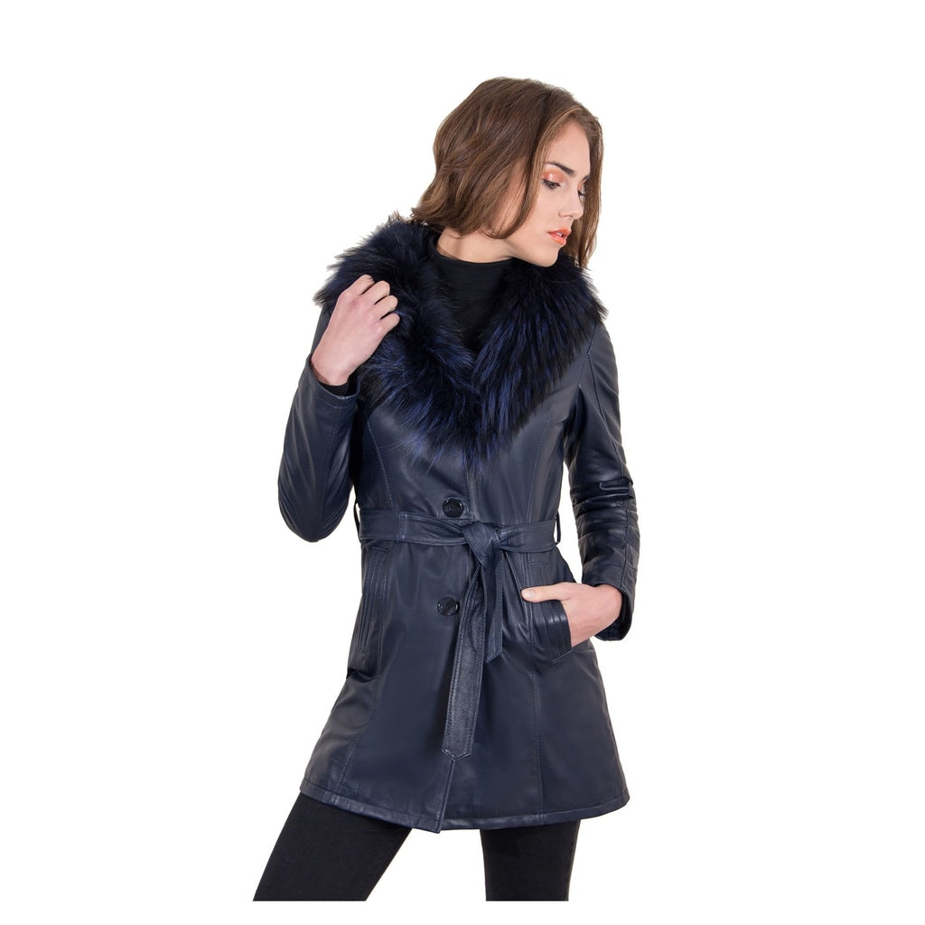 Women's Leather belted coat buttons fox fur Stefany - dkjackets