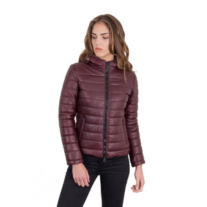Women's leather down hooded jacket red purple color Elsa - dkjackets