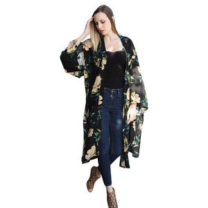 Beautiful Long Black Floral Kimono - dkjackets