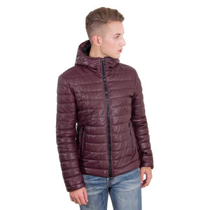 Men's hooded leather down jacket red purple color TEO - dkjackets