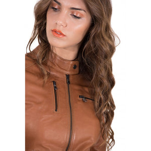 Women's Leather Jacket genuine soft leather biker korean collar Giulia - dkjackets