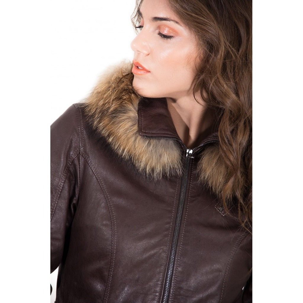 Women's Leather hooded Jacket parka with fur - dkjackets