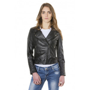 Women's Leather Jacket biker cross zip  Karim Trap - dkjackets