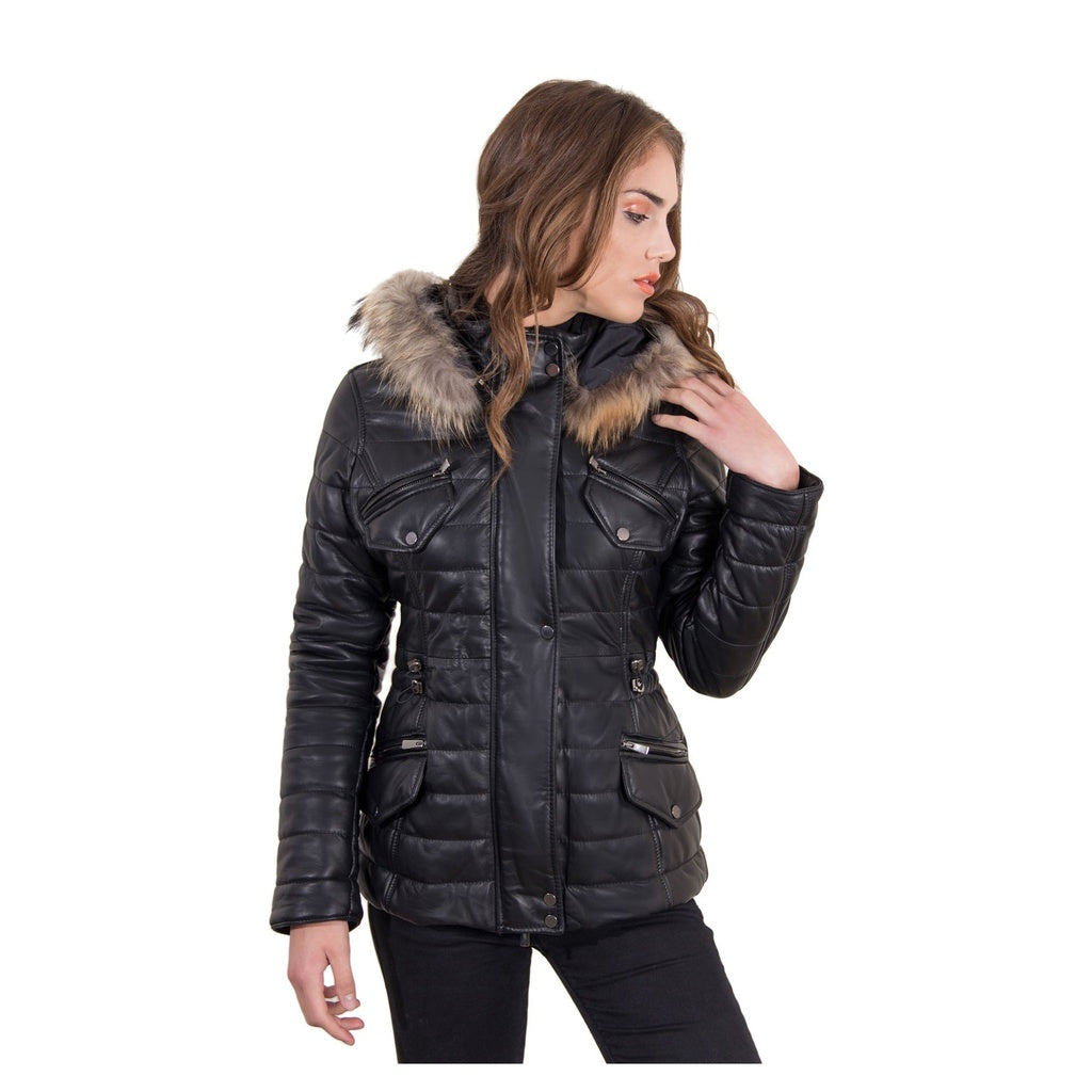 Women's Leather Down Jacket, genuine smooth soft leather, murmasky on the hood, central zip,  black color - dkjackets