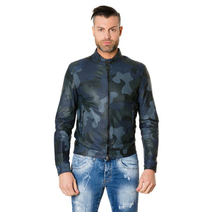 Men's Leather Jacket Blue Camouflage Ted - dkjackets