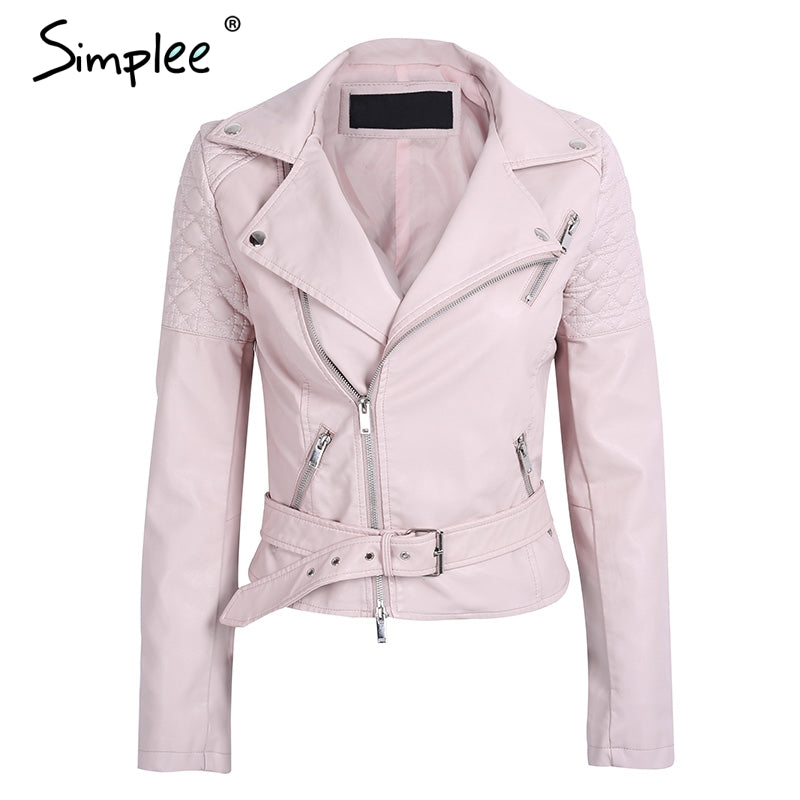 Women's Casual belt faux leather jacket autumn elegant motorcycle jacket - dkjackets