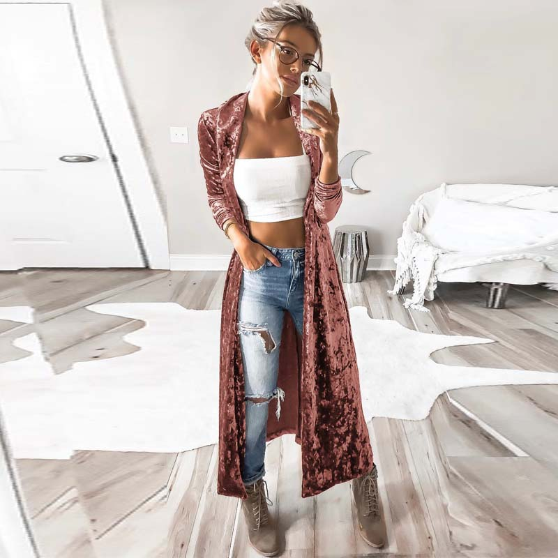 Women's Open Front Long Sleeve Velvet kimono - dkjackets