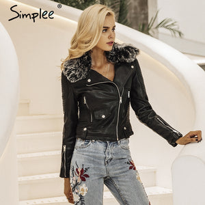 Women's Fashion fur collar faux leather jacket - dkjackets
