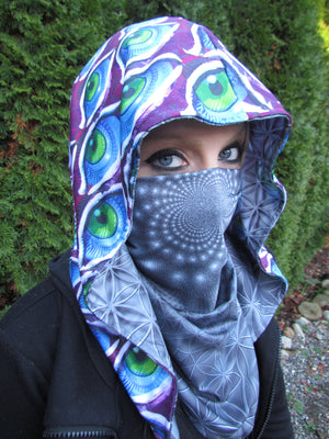Infinity Eyes & Flower of Life Reversible Chain Hood