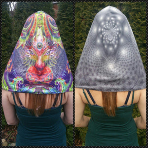 Hood - Cat Goddess & Flower Of Life Reversible Chain Hood