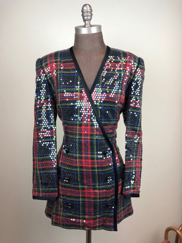 Plaid Sequins Double-breasted Blazer w/ Gem Buttons