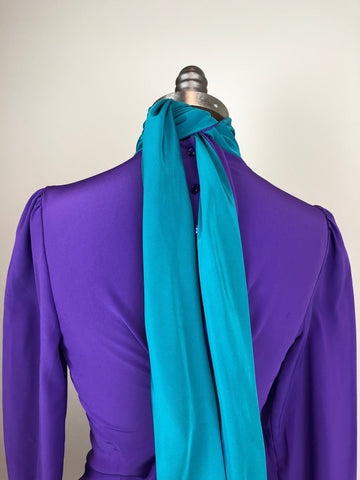 Purple and Turquise Reverse Pussy Bow Blouse