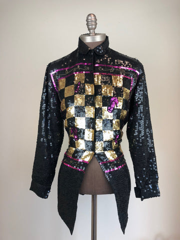 Checkered Sequins Blouse