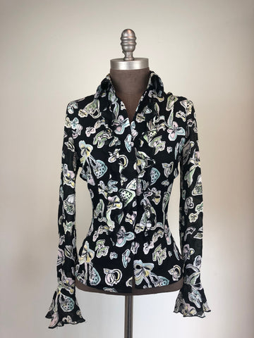 Black Bow Print Blouse