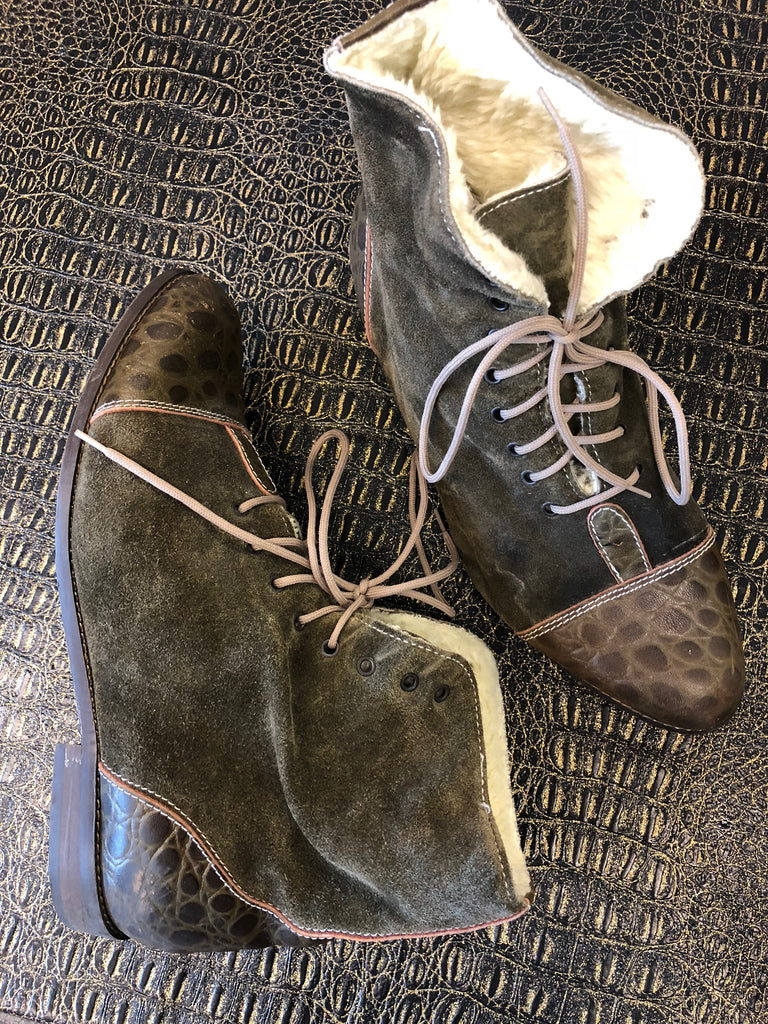Genuine Leather & Suede Green Boots