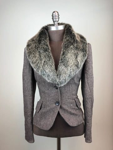 Wool Blazer w/ Detachable Faux Fur Collar