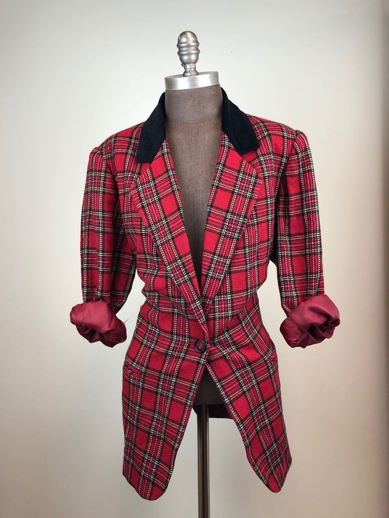 Red Plaid Wool Blazer w/ Full Lining