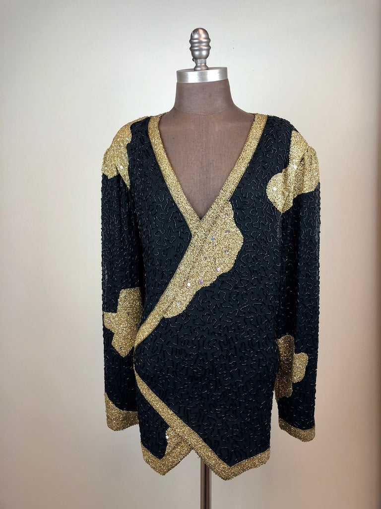 Black & Gold Beaded Blouse
