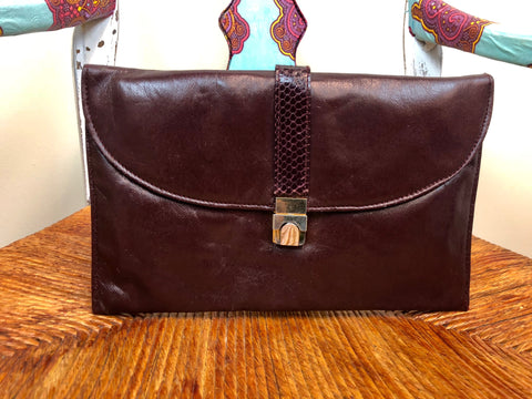 Burgundy Genuine Leather Clutch