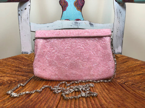Pink Beaded Clutch w/ Long Shoulder Strap