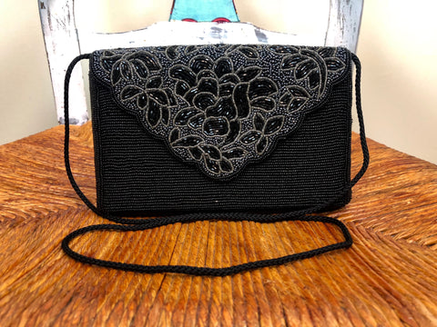 Black & Blue Beaded Evening Purse