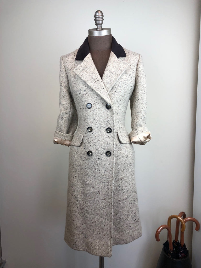Beige & Brown Wool Double Breasted Coat