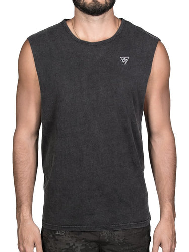 Aussie Tank Acid Wash Black