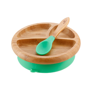 Avanchy Baby Bamboo Suction Plate + Spoon - Assorted