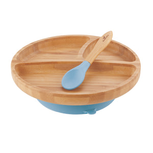 Avanchy Toddler Bamboo Suction Plate + Spoon - Assorted